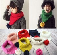 bib wool scarf - Latest Design Korean Knitting Wool Ball Children Scarf Baby Warm All match Collar New Bib The Children