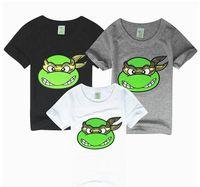 tshirt - In Stock Ninja Turtles Children Boys Summer Tshirts Short Sleeve Cartoon Turtle Cotton Tshirt Childs Black Gray White Tops H2062