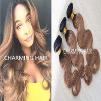 Cheap Ombre hair extensions !! 3pcs #1b #27 honey blonde ombre body wave virgin brazilian hair weaving wefts hot sale two tone human hair bundles