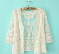 Wholesale Idyllic Summer Outside The ride Short Paragraph lace Cardigan Small Shawl Ms Spring Small Waistcoat Thin Coat Sun Protection Clothing