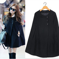 Cheap Free Shipping Casual Womens Cape Black Batwing Wool Poncho Jacket Lady Winter Warm Cloak Coat