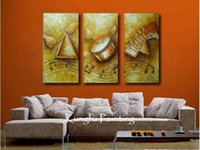 Cheap 100% handmade modern 3 panel abstract music paintings wall art canvas abstract music paintings home deco gift free shipping