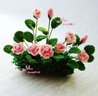 Wholesale Plant Pink Rose flower Clay Plant Dollhouse Miniature OP98