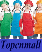 Wholesale children aprons with pockets chef apron kitchen cooking aprons waitress server pinafore Polyester plain color garden apron for girl boys kid