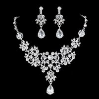 beauty drops pendants - The Shiny Water Drop Pendant Beauty Bride Clothing Accessories Jewelry Set Price Diamond Jewelry Two Piece Earrings and Necklaces