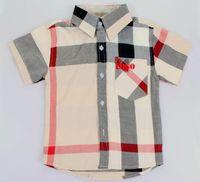 Cheap Hot New children Tshirts boys girls grid side short sleeve classcial plaid shirts boys british style shirts for 2-7Years