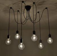 antique ceiling chandelier - arm edison bulb Pendant Chandelier Modern Antique Adjustable DIY E27 Art Spider Ceiling Lamp Fixture Light
