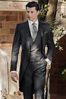 best holiday dresses - 2015 Handsome Black Tailcoat Groom Tuxedos Peaked Lapel One Button Best Men s Wedding Dress Prom Holiday Suit New Arrival