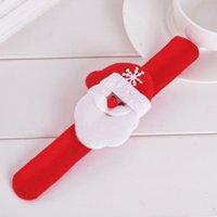 Wholesale 1Set Lint Christmas Reindeer Santa Claus Bear Snowman Pat Hand Slap Clap Bracelet Decor For Children For Christmas Party