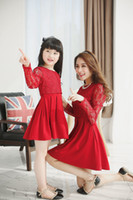 baby girl mom - Mother And Daughter Clothes Summer Dresses Girls Lace Tulle Hollow Out Dress Family Dress Mom Baby Clothes Autumn Long Sleeve Princess Skirt