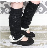 Wholesale The newest Girls lacey knit leg warmers Crochet lace trim legwarmers baby Boot Cuffs cover socks pairs mixed color