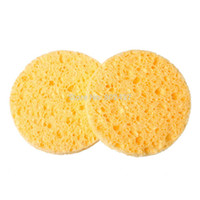 Wholesale Natural Wood Fiber Face Wash Cleansing Sponge Beauty Makeup Tools Accessories Round Yellow cm Dia B52302