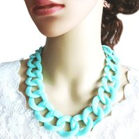 Cheap 2015 New Fashion Shiny Hot Selling Summer Style Mint Green Neon Color Chunky Chain Acrylic Choker Necklace for Women