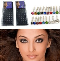 Wholesale 2015 Multicolor Nose Stud l Surgical Steel pic SET Diamond Nose Rings Nostril Studs Body Jewelry
