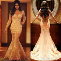 Wholesale 2016 Myriam Fares Prom Dresses With Long Sleeves Sexy Bodycon Trumpet Arabic Dress Champagne Long Evening Gowns Appliques Occasion Dresses