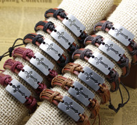 mens jewelry cheap - Fashion cross Handmade Cheap Price Leather Braided Bracelets and Bangles mens bracelets women jewelry