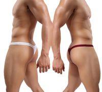 Cheap 4pcs lot Mens thongs and g strings Men's Sexy Comfortable T-Back Ribbing Thong G-String Underwears Size L XL M
