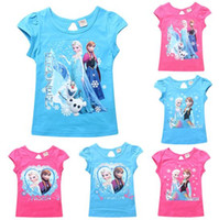 Cheap 2015 baby children from frozen cartoon 100% Cotton shirt children summer Girl T-shirt short sleeve T shirt 3D printer