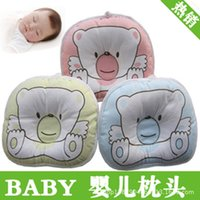 Wholesale New Arrival pc Soft Baby Pillow Infant Toddler Lovely Bedding Bear Print Oval Shape Cotton Baby Shaping Pillow