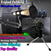 tripod screen - Desktop Tripod Folding Microphone Stand Wind Screen Pop Filter Mask Shied Recording Mic Holder For Studio Computer Karaoke Skype