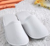 Wholesale In Stock cheap white Male Female Disposable slippers ultra thin Standard size Fiber products Hotel Home supplies
