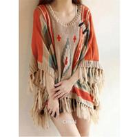 aztec sweater coat - Hot Sale Women s Aztec Native Tribal Hippie loose Fringed hem boho Sweater Poncho Shawl Cape Coat Outwear
