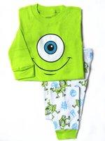 pajama - retail baby boy spring green monster pajamas clothes kids pajama sets