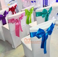 Wholesale Chair Sashes Wedding Chair Ribbon bowknot venue from the back chair seat butterfly flower multicolor highly resilient Drill