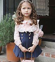 girl - 2016 Fashion Ruffles Long Sleeve Shirt Gallus Skirt Children Girls Dresses Sweety Girls Princess Pink Blue Dress Outfits B4008