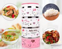 Wholesale 4 Layers Hello Kitty Doraemon Cartoon Lunch Box Stainless Steel Bento Box Best For Travel Outdoor