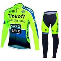 Wholesale saxo bank tinkoff green Cycling Jersey winter thermal fleece long sleeve bib pants Bicycle clothing Set men bike maillot roupa ciclismo