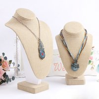 Wholesale Top Grade Burlap Wooden Bust Mannequin Linen Necklace Holder Jewelry Display Stand