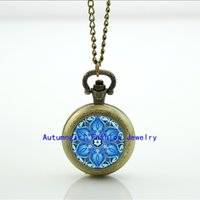 antique kaleidoscope - Blue Kaleidoscope Pocket Watch Photo Locket Necklace Silver Pocket Watch Necklace WT