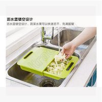 Wholesale 30pcs CCA3600 High Quality Korea Design Creative Kitchen In Cutting Board Wash With Handle Cut Fruit Meat With Sink Drain Chopping Board