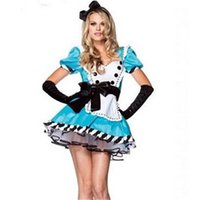 maid costume - 2015 new style Alice In Wonderland Dress Lolita sexy Dress Maid Cosplay Fantasia Carnival Halloween Costumes For Women Plus Size M L XL