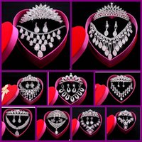 Wholesale New Jewelry Sets Rhinestone Crystal Necklaces Earring Crown Bride Jewelry Sets for Bridal Wedding