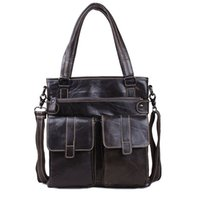 abrasive media - leather tote bag unisex one shoulder anti abrasive top layer oiled waxing leather handbag in black