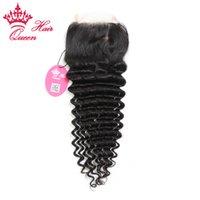 Wholesale 100 Brazilian virgin hair quot x4 quot quot quot Deep curly weave Free part Lace Closure DHL Virgin Human hai pc