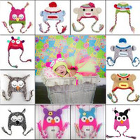 Wholesale Children Hat New Owl EarFlap Crochet Hat Baby Kids Wool Weaving Hat Hand woven Baby Hat Knitting Wool Animal prints Hat