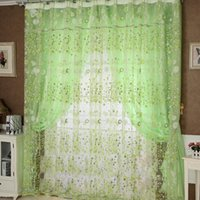 Wholesale Beautiful Pastoral flower curtain yarn Green color size x95cm