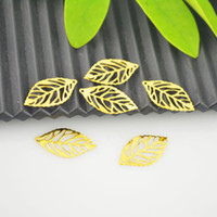 Wholesale DIY Gold Plated Hollow Leaf Charm Pendants x13mm quot x4 quot Jewelry Making