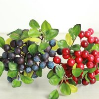 artificial blueberries - 5pcs Decorative Blueberry Fruit Berry Artificial Flower Silk Flowers Fruits For Wedding Home party Decoration Silk Plants