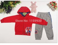 Wholesale new children sports clothing set kids spider man hooded sweater jacket pants clothes suit Autumn Winter jogging sets