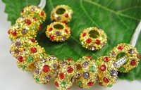 Wholesale 30PC Mixed Multicolor Crystal Golden Plated x mm Spacer Wheel Loose Beads Fit Pandora European Bracelet Free Ship