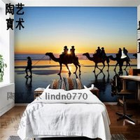 bars sunrise - Tao Bao Arts dawn sunrise on the beach people walking camels TV backdrop hotel bar decorative painting TB