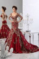 Cheap 2015 New Sexy Sweetheart Two Pieces Prom dresses Red Long Sleeve Gold Embroidery Arabic Pageant Gowns Trumpet
