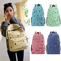 Wholesale New Men Women Canvas Backpack Nautical Print Large Capacity Student School Bag Unisex Outdoor Casual Bag B0129