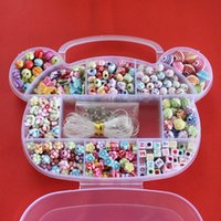 bead ring kits - Hot DIY Bracelet Plastic Acrylic Bead Kit Accessories Girl Toys Mixed Kids Beads with Box Beads for Children BDH017
