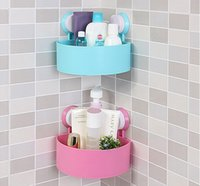 Wholesale Bathroom Storage Basket With Suction Cup Triangle Wall Shelf Rack Hanging Organizer Toilet Storage Baskets colors