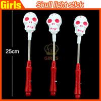 plastic skull - 2015 Halloween Glow Skull Light Sticks Halloween party supplies LED Glow Sticks Flash Sticks light up Wand Party Disco KTV kids toys